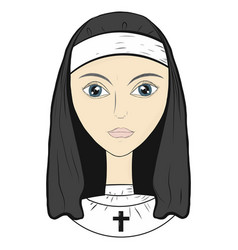 nun sister of mercy in monastic clothes vector image