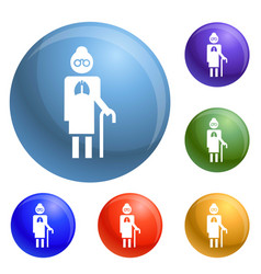 old man pneumonia lung icons set vector image