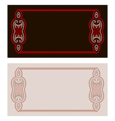 Oriental pattern card in red and black colors vector image