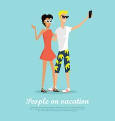 people on vacation making selfie on smartphone vector image