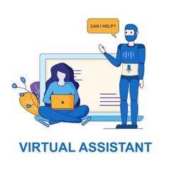 Personal help of digital virtual assistant at work vector