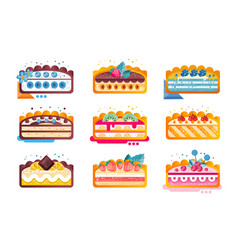 piece layered delicious cake set cakes with vector image