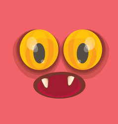 Pink hand drawn funny monster face vector