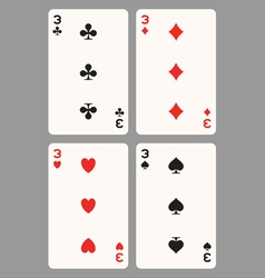 Playing cards three vector image