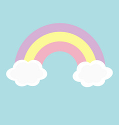 rainbow and two clouds in sky love magic card vector image