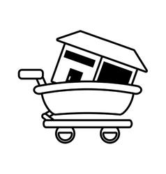 real estate house shop cart outline vector image