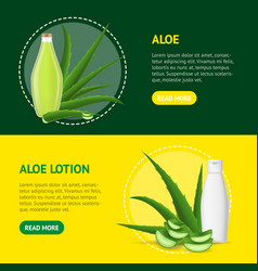 realistic detailed 3d aloe vera product banner vector image