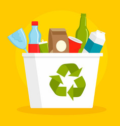 recycle basket concept background flat style vector image