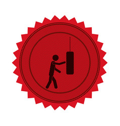 Red circular seal with man knocking punching bag vector