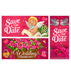 Save date wedding banners marriage cards vector