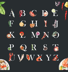 Seafood alphabet design with lobster crab fish vector