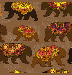 Seamless decorative pattern with circus bears vector