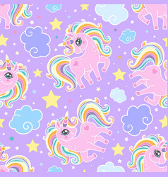 Seamless pattern with rainbow unicorns clouds vector