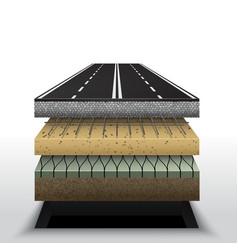 Section asphalt road pavement layers vector