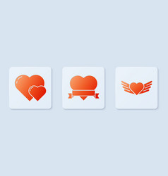 Set heart and ribbon heart and heart with wings vector