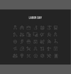 Set line icons labor day vector