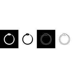 Set magic symbol ouroboros icon isolated vector
