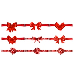 Set of beautiful red bows vector image