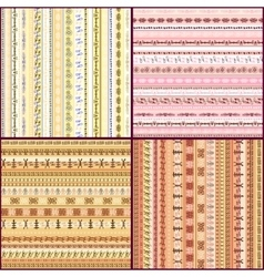 Set of colorful ethnic seamless pattern design vector