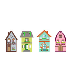 Set of detailed colorful cottage houses vector