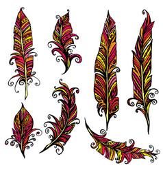 Set of ornamental feather tribal design ink hand vector
