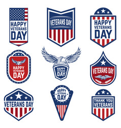 set of veterans day emblems usa culture vector image