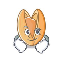 Smirking pistachio nut character cartoon vector