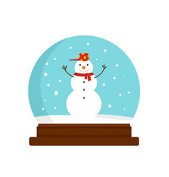 snowman glass ball icon flat style vector image