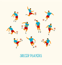 soccer players flat vector image