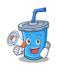 Soda drink character cartoon with megaphone vector