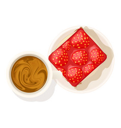 Strawberry cheesecake icon isometric style vector