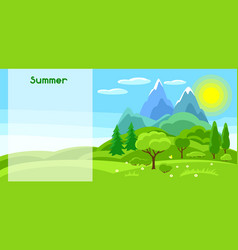 Summer banner with trees mountains and hills vector