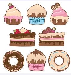 Sweet cakes vector