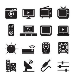 Television icon set vector