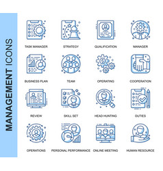 thin line management related icons set vector image