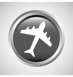 Travel concept transport airport plane button vector