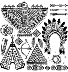 Tribal native American set of symbols vector