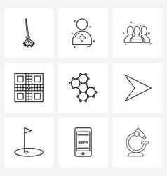Universal symbols 9 modern line icons of vector