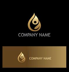Water drop eco people gold logo vector