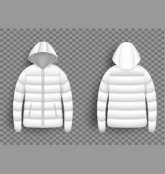 White puffer jacket mockup set isolated vector