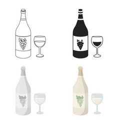 White wine icon in cartoon style isolated on white vector