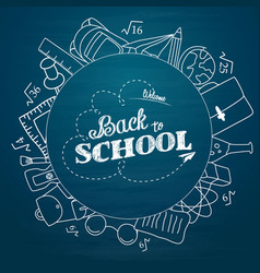 whiteboard back to school doodles with school vector image
