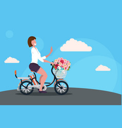 woman cycling bicycle carrying flowers bouquet in vector image
