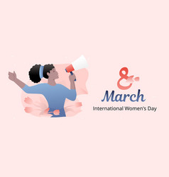 Woman with loudspeaker banner vector
