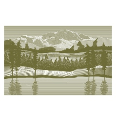 Woodcut wilderness vector