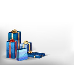 christmass blue gift grey white vector image vector image