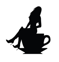 girl silhouette in cup of coffee vector image