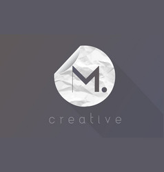 m letter logo with crumpled and torn wrapping vector image