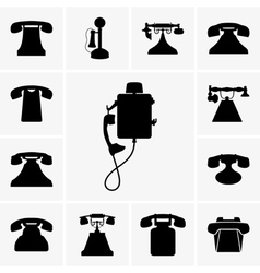 Old telephones vector image vector image
