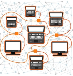 Abstract scheme of modern computer network vector image vector image